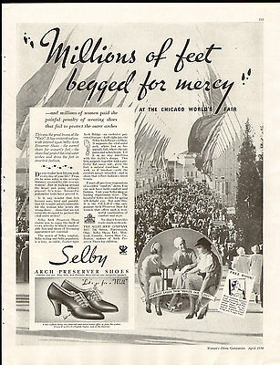 Vintage 1934 SELBY SHOES Full Page Large Magazine Print Ad: Century of Progress