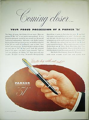"Vintage 1945 PARKER ""51"" Fountain Pen Full Page Magazine Print Ad: Blue Diamond"