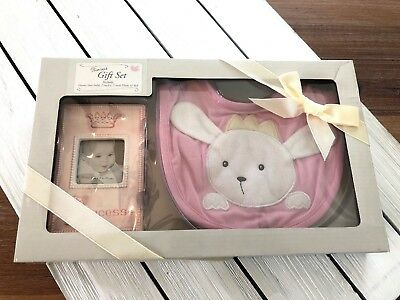 Grasslands Road Princess Baby Girl Gift Set - Bib & Frame - Pink