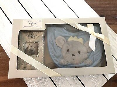 Grasslands Road Prince Baby Boy's Bib & Frame Gift Set - Blue - NEW