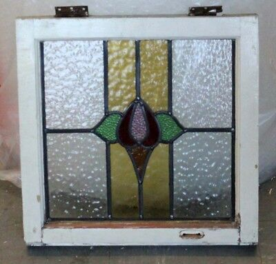 Art Deco English Stained Glass Window In Original Frame