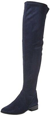 f65b39c606d Rrp £80 Aldo Elinna Navy Blue Faux Suede Over Knee Thigh Flat Boots Size 4