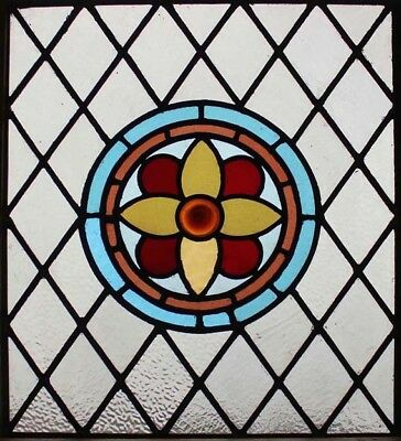 Original Victorian Roundel Antique Stained Glass Window