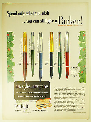 "Vintage 1952 PARKER ""51"" & ""21"" Fountain Pen Full Page Print Ad: Christmas"
