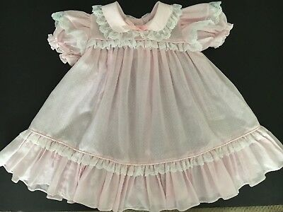 1970's Vintage Mini World Pink Ruffled & Lace toddler dress size 3T