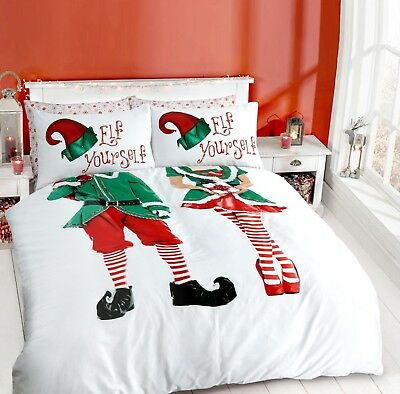 CHRISTMAS ELF YOURSELF Duvet Quilt Cover Set With Pillow Case - Bedding Set