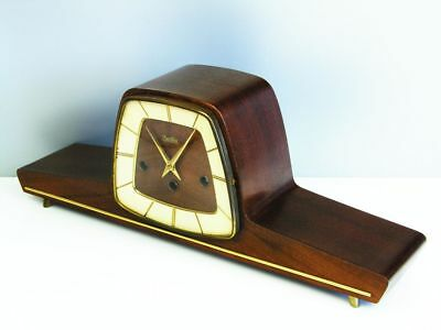 A Big Pure Art Deco Westminster Chiming Mantel Clock From Zentra Hermle Germany
