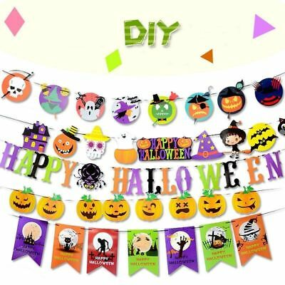 DIY Halloween Decorations Party Flag Pull Spider Pumpkin Sticker Banner Props 3M