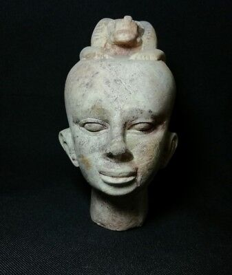 Ancient Egyptian hard stone head of priest with baboon protecting him