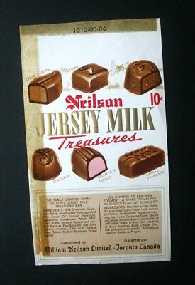 JERSEY MILK TREASURES 10c - 1960's NEILSON'S CANADA Chocolate Candy Bar Wrapper