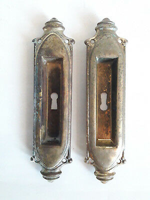 Lot of 2 Vintage Door Key Hole Cover Non Magnetic Metal Gold Color Home Decor