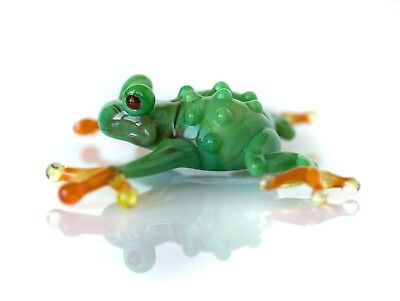 "Middle Green Frog Figurine Blown Glass ""Murano"" Art Animal Reptile Miniature"