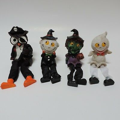 """Owl Pirate, Halloween decor ghost, witch, Dangling Legs 8"""" and smaller lot of 4"""