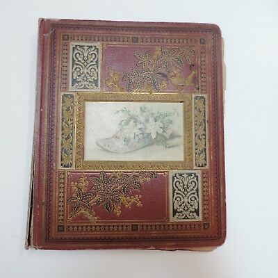"""Vintage Victorian trading cards, ads, die cuts scrapbook dated 1876 17""""x12"""""""