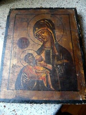 Rare Early Antique Russian Icon Virgin Of Passion Painted On Wood