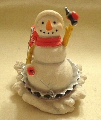 "Coca Cola ""catch The Wave"" Snowman Figurine Sledding, Sculpture # 0557,resin, 4"""