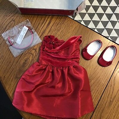 American Girl Doll Nib Rosey Red Outfit Dress Shoes Retired