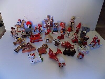 VINTAGE CHRISTMAS ORNAMENT, LARGE LOT OF WOODEN ORNAMENTS, 1970's-80's