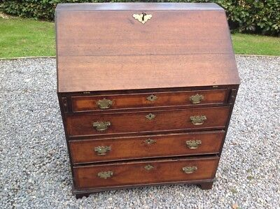 George III Country Oak Bureau Over 4 Crossbanded  Drawers