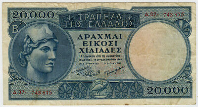 Greece 1949 Issue 20,000 Draxmai Banknote Crisp Vf.