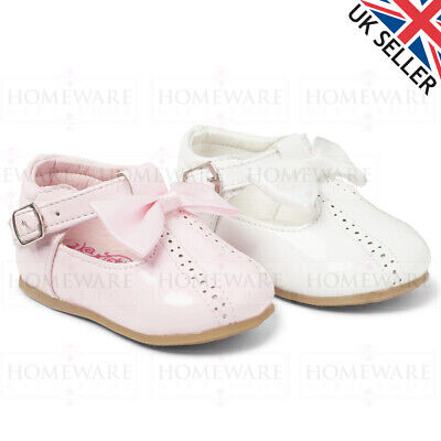 Baby Girls Spanish Style Patent Bow Shoes T-Bar Pink White Red Kids Uk3 To Uk10
