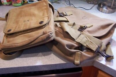 WWII WW2 Named US Army Map Case  and Musette Bag 1942