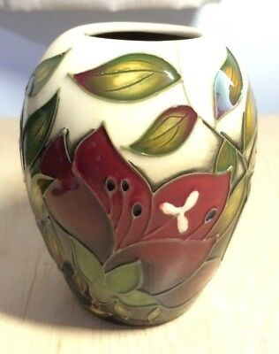 Moorcroft Trial Vase showing deep red flowers with foliage