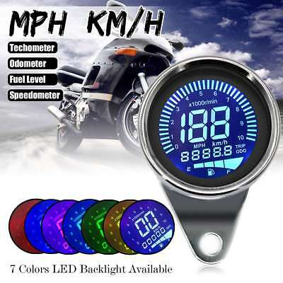 Motorcycle LED LCD Digital Tachometer Speedometer Fuel Level Gauge Odometer