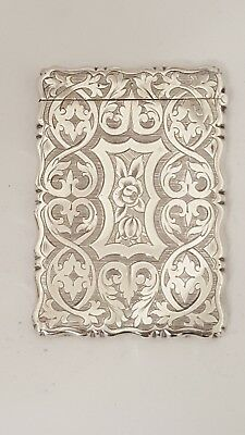 stunning victorian  antique solid silver card case   george unite 1865