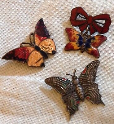 Art Deco Enamel Butterfly Brooches