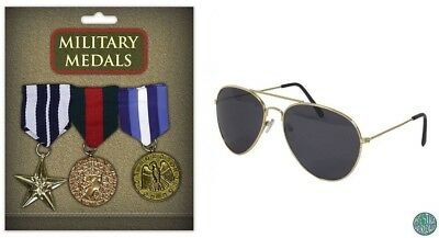 Military Army Navy Fancy Dress Medals & Aviator Sunglasses Set General Accessory