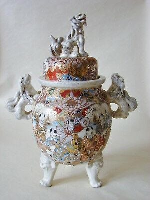 Pair of Antique Satsuma Hand-painted Tripod Lidded Jars With Foo Lion Handles &