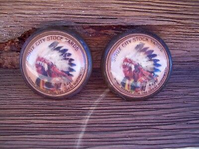 1 Pair Bridle Rosettes,sioux City Stock Yards.