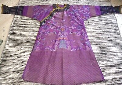 Beautiful Antique Vintage Chinese Gown Robe Five Claw Dragons Woven Purple Silk