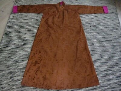 Antique Vintage Gorgeous Chinese Silk Gown Robe Dragons Birds Brown Pink Blue
