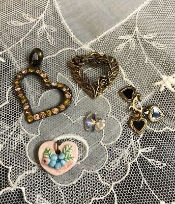 Vintage Mixed Lot Of Hearts Crafting Pendants Jewelry MC-21