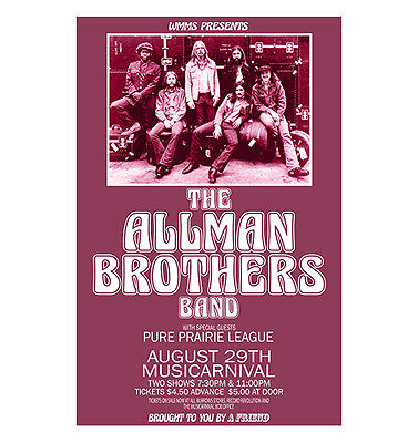 Allman Brothers 1971 Cleveland Concert Poster