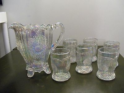Mosser Dahlia Clear White Carnival Glass Water Set Pitcher & 6 Tumblers - 3450