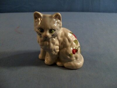 Mosser Hand Painted Gray Glass Cat Figurine - Red Roses