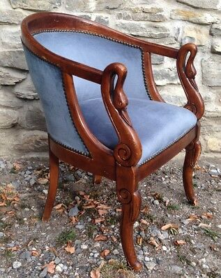 Antique french armchair early 1900's Empire style made of wood and blue velvet