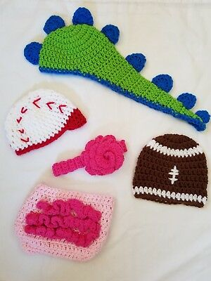 Lot of Baby Photography Props, crochet, ball, dino, pink, handmade, new