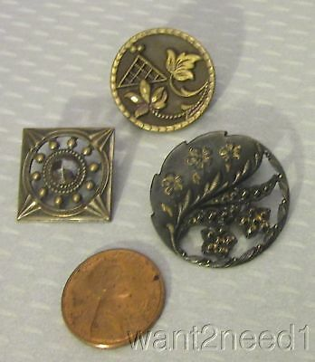 19C French antique BUTTON LOT 3P mixed metal cut steel openwork floral square