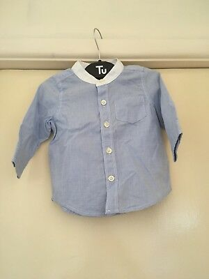 Baby Gap Boys 6-12 Months Blue Collarless Shirt Top New Without Tag Long Sleeved