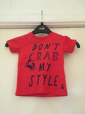 Joules Boys Girls Red T Shirt Top 9-12 Months Dont Crab My Style Very Cute