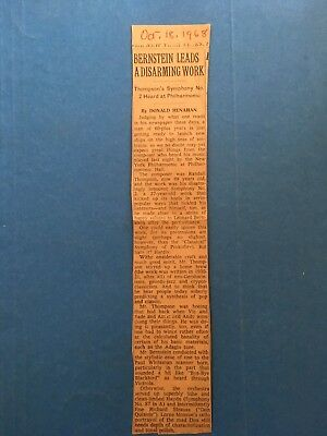 Bernstein, 2 other music clippings from NY Times, Phila. Bulletin: '64 '68 '72