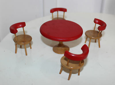Mid-Century Dollhouse Table 4 Chairs Round Table Barrel Chairs Red + Wood