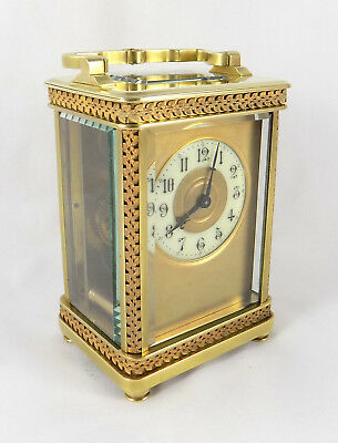 Antique French Masked Dial Carriage Clock - Ornate Case - Cleaned & Serviced