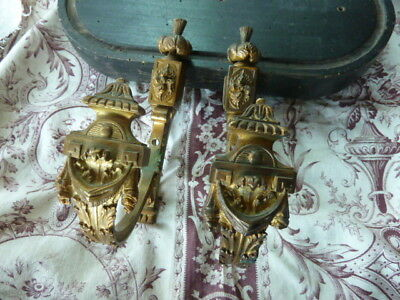 Superb Pair Of Antique Gilt Metal French Empire Curtain Tie Back Hooks
