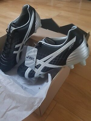 ASICS jets CS FG Rugby Boots UK Size 9 Brand New black/white/silver