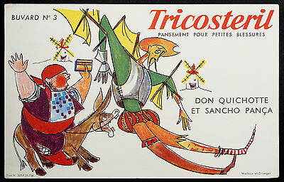 Buvard Publicitaire Ancien : Pansements Tricosteril - N°3 Don Quichotte